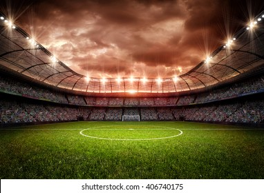 stadium 3d rendering, the imaginary soccer arena