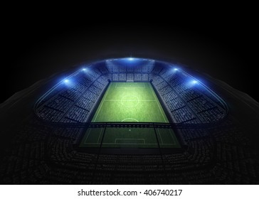 stadium 3d rendering, the imaginary soccer arena