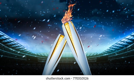 Stadium concept. Olympic fire of South Korea's PyeongChang 2018. Concept of gas lighters with fire on a dark background. 3d render