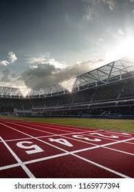 Stadium and fans. Photorealistic 3D illustration. wide angle