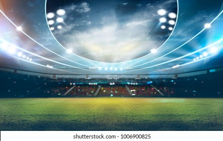 stadium in lights 3D rendering.