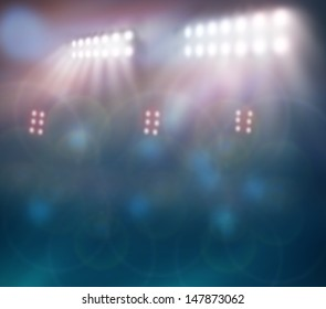 Stadium Lights against Dark Night