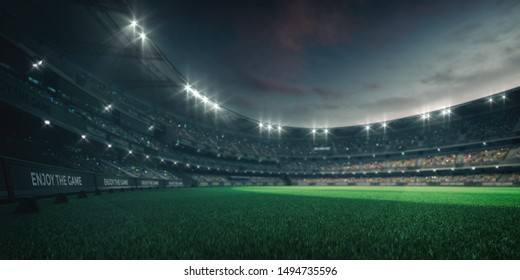 Stadium lights and empty green grass field with fans around, perspective playground view, grassy field sport building 3D professional background illustration