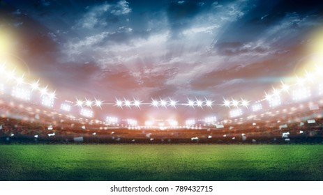 stadium in lights and flashes 3d.