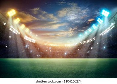 stadium in lights and flashes 3d. Mixed photos