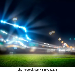 stadium in lights and flashes 3d rendering