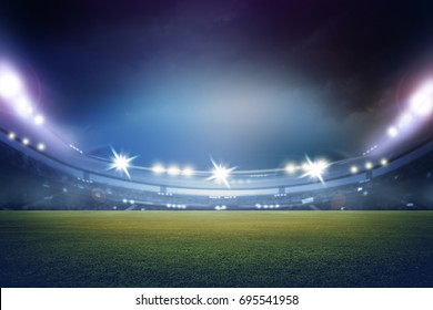 stadium in lights and flashes 3D rendering.