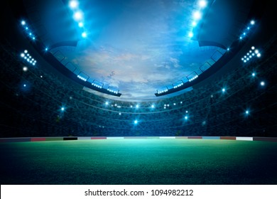 stadium in lights and flashes. Mixed photos, 3d rendering