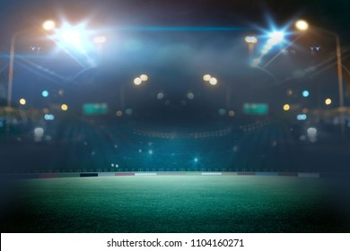 stadium in lights and flashes. Mixed photos