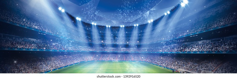 Stadium in the night light, 3D display.
