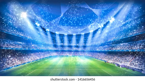 Stadium in the night light. 3D illustration
