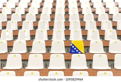 Stadium seat with flag of bosnia and herzegovina in a row of white chairs. 3D illustration