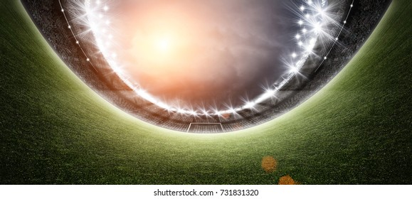 stadium and Soccer ball 3d rendering