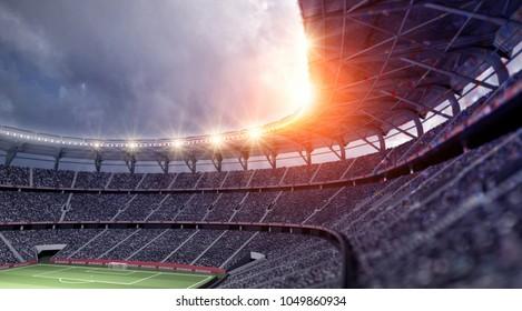 stadium soccer fan 3d rendering