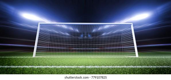 Stadium Soccer Goal or Football Goal 3d rendering