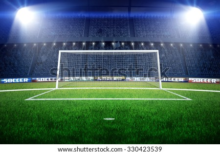 stadium soccer goal football goal stock illustration 330423539