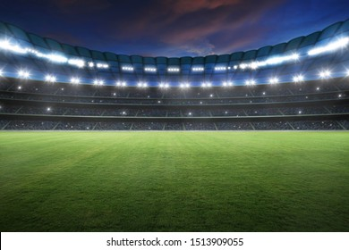 Stadium with spotlight and empty green grass. NIght scene .3d rendering