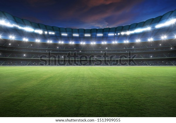 Stadium with spotlight and empty green grass. NIght scene .3d rendering