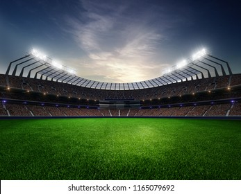 stadium sunset  with people fans. 3d render illustration cloudy sky