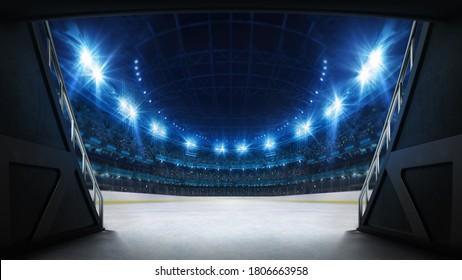 Stadium tunnel leading to playground. Players entrance to illuminated ice hockey stadium full of fans. Digital 3D illustration background for sport advertisement.