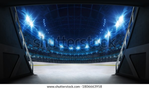Stadium tunnel leading to playground. Players entrance to illuminated ice hockey stadium full of fans. Digital 3D illustration background for sport advertisement.