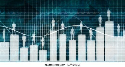 Staff Performance Appraisal with People Standing on Platform 3d Illustration Render
