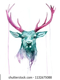 Stag deer sketch. Illustration of a stag deer in greens, blues and magenta pink. stag portrait with antlers in watercolour, suitable for cards, decorations, wall art, gifts. Beautiful deer painting.