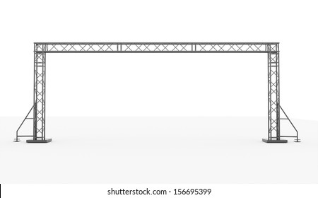Stage construction rendered isolated on white background