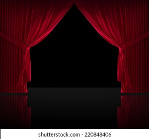 Stage curtains on a black background and a reflective floor