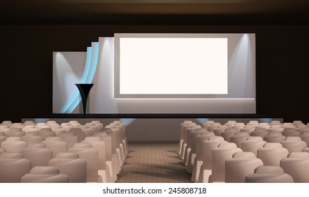 Stage design with blank backdrop and LCD screen