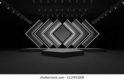 stage event led tv light night staging interior ,3D render illustration