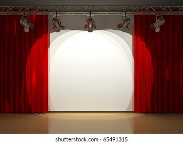 stage lighting and red curtians
