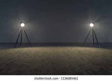 Stage lights in an empty room (3D Rendering)