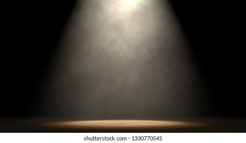 An stage lit by a single spotlight on a dark background - 3D render