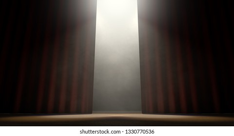A stage with open curtains lit by spotlights on a dark background - 3D render