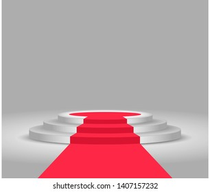 Stage podium. Red carpet and podium. Festive event. Stage for winners and award ceremony. Round pedestal with stairs.