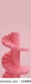 Stage podium stand pastel background. Pink spiral staircase. advertising display space for placing products fashion cosmetics. copy space. 3D illustration.