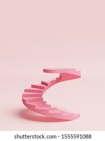 Stage podium stand pastel background. Platform pink spiral staircase. Advertising display space for placing products fashion cosmetics. copy space. 3D illustration.