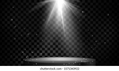 Stage spot lighting. Empty podium. illustration