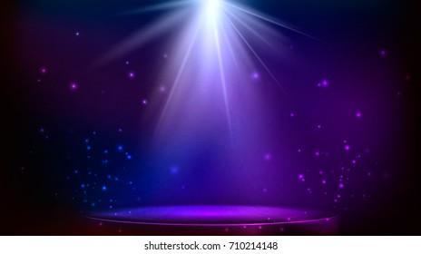 stage spot lighting. magic light. blue and purple background. illustration