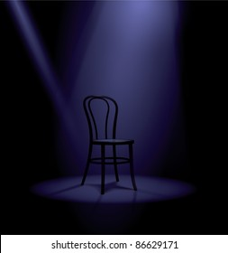 Stage in spotlights with chair:raster version