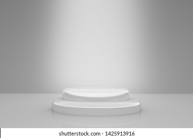 Stage with white spotlight. Empty silver round podium. Background for display your text or product. Light beam. Xmas advertising backdrop