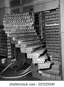 Staged trays of a French electronic brain 350 electronic tubes and 8000 replacing tubes are used in the computer.