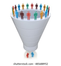 Stages of consumer interest. Sales Funnel in the design of information related to marketing. 3d illustration