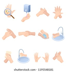 Stages proper care of hands, washing, preventive maintenance of bacteria, healthcare, health. Hand washing, disinfection, sanitary hygiene. Hand hygiene prevention, health care illustration