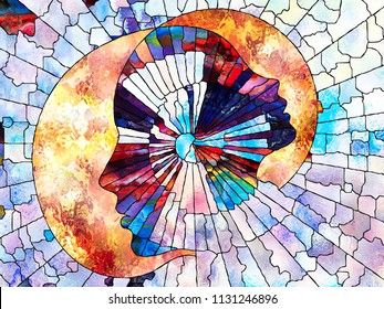 Stained Glass Forever series. Adult and child profiles composition divided and merged by mosaic pattern on the subject of unity of existence.