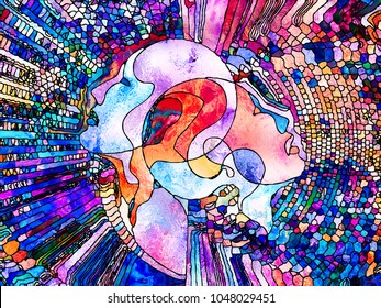 Stained Glass Forever series. Interplay of human profiles, symbols and color patterns on the subject of design, creativity and imagination