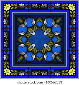 Stained Glass multicolor patterned  window