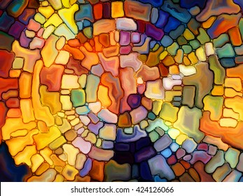 Stained Glass Pattern series. Abstract arrangement of virtual stained glass fragments suitable as background for projects on art, craft and design
