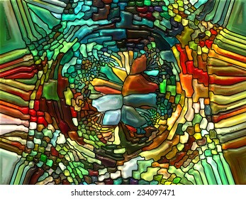 Stained Glass Pattern series. Creative arrangement of virtual stained glass fragments as a concept metaphor on subject of art, craft and design - Shutterstock ID 234097471